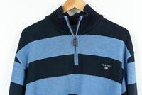 GANT Zip Neck Jumper Sweater Striped Mens Size XL