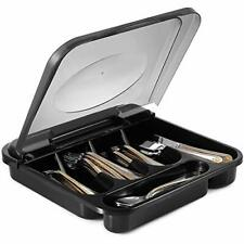 Flatware Plastic Tray With Hinged Lid Kitchen Cutlery & Utensil Holder Organizer