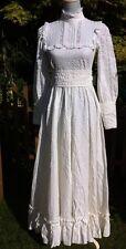 Laura Ashley Vintage Blanco Vestido para Boda de algodón con cuello alto talla 6 8