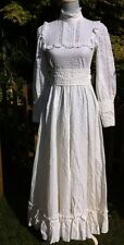 LAURA ASHLEY VINTAGE WHITE VICTORIANA HIGH NECK COTTON WEDDING DRESS SIZE 6 8