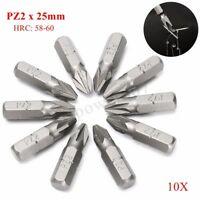 10PCS Pozi PZ2 50mm 25mm ScrewDriver BITS Titanium Coated S2 Steel 1/4''   G
