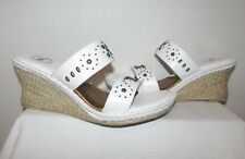 NUTURE WILDFLOWER WHITE LEATHER STUDDED OPEN TOE PLATFORM WEDGE SANDALS SZ 8.5