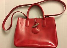 Longchamp Roseau Box Patent Leather Poppy Shoulder Purse Handbag NWT Crossbody