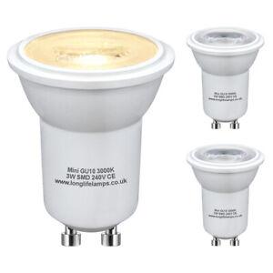 3 x Mini GU10 LED Halogen Light Bulbs 35mm Small GU10 35W