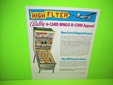 Bally HIGH FLYER 1977 Original Coin-Op Bingo Pinball Machine Promo Sales Flyer