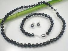 Perlen Halskette Armband Ohrstecker schwarz 45/20,5cm