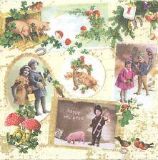 2 Serviettes en papier Nouvel An Vintage Porte bonheur Decoupage Paper Napkins