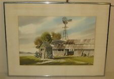 Vintage FOSTER NYSTROM *Salt Farm* CAPE COD Barns Painting - LISTED Watercolor
