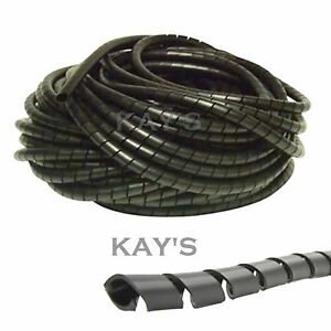 SPIRAL CABLE WRAP TIDY HIDE BANDING LOOM ~ PC,TV,HOME CINEMA,WIRE MANAGEMENT