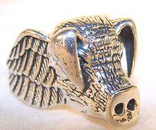 HOGG HEAD BIKER RING BR94 HEAVY silver NEW pig hog novelty fashion jewelry men