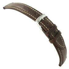 20mm Morellato Brown Genuine Italian Leather Padded Contrast Stitched Watch Band