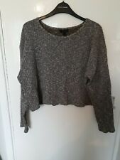 Topshop Cropped Ribbed Knit Pocket Front Jumper Lightweight Size 10