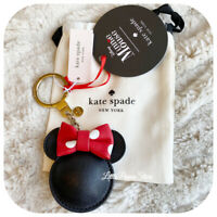 KATE SPADE NEW YORK MINNIE MOUSE LEATHER CHARM KEY FOB IN BLACK/RED