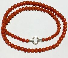 Natural Red NO dye Coral 14k Diamonds toggle clasp necklace 珊瑚