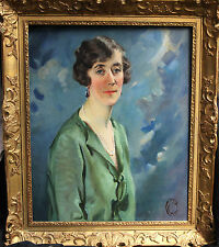 ART DECO BRITISH OIL PAINTING PORTRAIT LADY IN GREEN ROARING TWENTIES WOMAN