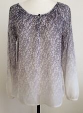 Sanctuary Clothing Womens Top Ombre Lace Print Gray Off White Long Sleeve,XS,EUC