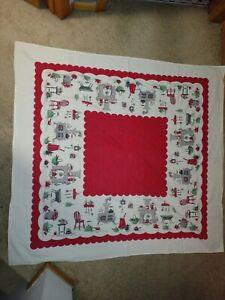 Vtg Tablecloth Cotton Red Retro 48x 52 *Faded* Farmhouse