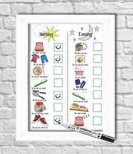 Kids routine chart, toddler tasks, daily visual aid, whiteboard, Autism ADHD