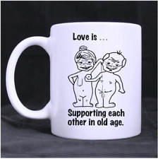 Love Is Supporting Each Other In Old Age Funny Coffee Mugs, Ceramic Mugs
