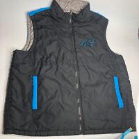 NFL Carolina Panthers Men's Size XXL Puffer Vest Sleeveless Jacket Black Gray