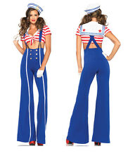 Navy Sea Sailor Costume Halloween Ladies Cosplay Outfit Fancy Dress Blue Red 4-8