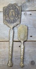 Vintage Vanity Dresser Set Hand Mirror Hair Brush Set Heavy Gold paint on Wood