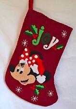 Disney Parks Santa Minnie Mouse JOY Holly Christmas Holiday Stocking
