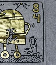 KEITH HARING x UNIQLO 'Gold Robot' SPRZ NY Art T-Shirt M Gray w/ Gold Foil *NWT*