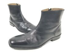 Johnston & Murphy Men's Black Leather Ankle Boots Size 9.5 M  Side Zip