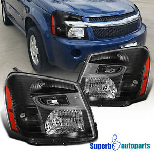 For 2005-2009 Chevy Equinox Headlight Black Head Lights Lamps Left+Right