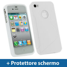Bianco Custodia TPU Gel per Apple iPhone 4 & 4S 4G 16gb 32gb Case Cover Rigida