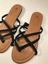 NWT Ladies FLIP FLOP BLACK SANDALS Classic Shoes SIZE 8