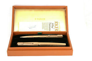 9ct Gold Parker 61 President Fountain Pen And Pencil Set 1977 Queen's Award