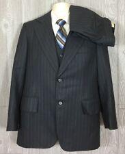 Reliance Mens Grey Striped Wool 3pc Suit Sz 38 31x30 (t2)