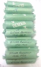 $5 MIXED DATE ROOSEVELT DIME ROLL (50), 90% SILVER, CIRCULATED ROLL