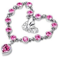Hearts Crystal Link Chain Charm Bracelet Jewelry For Woman Vintage Wedding Party