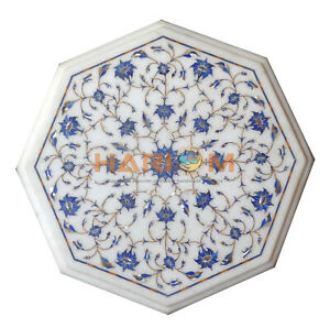12'' Marble Coffee Table Top Lapis Floral Marquetry Inlay Garden Decorative W130