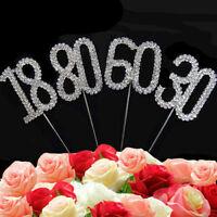 UK Diamante Rhinestone Gem Cake Pick Topper Birthdays Anniversary Silver Numbers