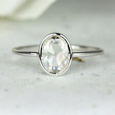 Near White Engagement 925 Sterling Silver Rose Cut Oval Moissanite Ring 1.34 Ct