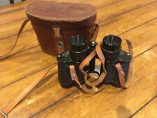 Vintage Antique 1940's 50's Toko 6x30 Binoculars in Brown Leather Case