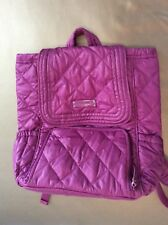 Vera Bradley Puffy Backpack Laptop Bag Quilted Berry w Heather Pattern MINT