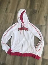 PUMA JACKET  Ladies ZIP UP JACKET/COAT White/pink Red letters Sz L #97AH