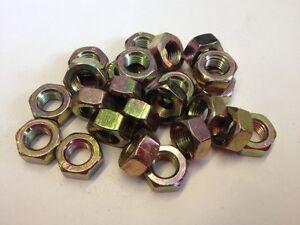 (QTY 6) M12 X 1.0mm pitch FULL NUTS DIN 934 STEEL ZINC/YELLOW PLATED