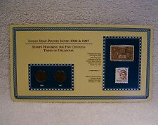 1906 & 1907  Indian Head Pennies  -  Tribes of  Coin & Stamp Commemorative Panel