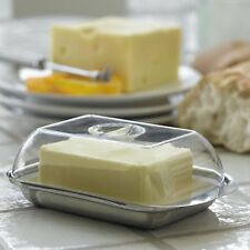 Stainless Steel Butter Dish with Plastic Lid Tray Serving Storage Steel-Function