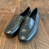 BORN Moccasin Black Leather Ballet Flats Slip On Loafers Women's Size 7.5 M EUC