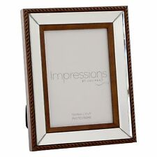 MIRROR GLASS PHOTO FRAME WITH ROPE STYLE EDGE 5''x7'' NEW BOXED GIFT FG35557
