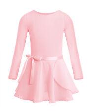 Girls Team Basic Long Sleeve Gymnastic Leotard Skirt Kid Dance Ballet Tutu Dress