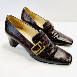 Charles Jourdan Paris Size 8 Vintage Brown High Heel Court Shoe Leather Designr