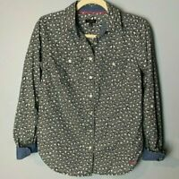 Talbots Women's Top Size 4 Black White Hearts Shirt Blouse Roll-Tab Sleeves